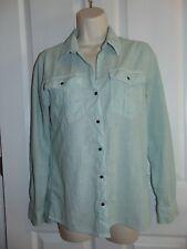 patagonia women's shirt blouse top small green white stripes long sleeve