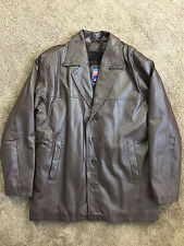 USA Leather Brown Men Coat M Zip Out Lining Warm Excellent button closure