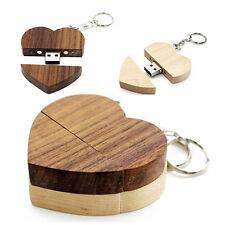 Unique Heart Shape Wood USB 2.0 Flash Drive Custom Wedding Studio Gift Pendrive