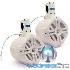 """(2)POWER ACOUSTIK MWT-65 6.5"""" 500W MARINE BOAT WAKETOWER TWEETERS SPEAKERS WHITE"""