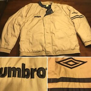 Vtg Umbro Men's Lined Athletic Jacket Coat Full Zip Medium Tan Beige Coach