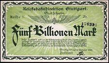 STUTTGART REICHSBAHN 1923 5 Trillion Mark Railroad Inflation Notgeld AU/UNC