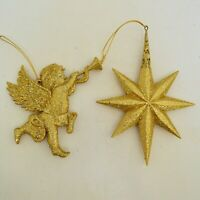 Vintage Pair Gold Glittered  Angel And Star Christmas Ornaments Raz