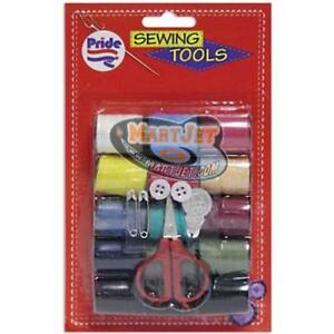 Emergency Sewing Tools Set Thread Spool Scissor Button Pin Fix Repair Travel Kit
