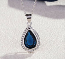 2.2ct Blue Sapphire Gemstone 925 Sterling Silver Heart Pendant Chain Necklace