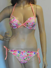 NEW VICTORIA'S SECRET PEACH FLORAL UNDERWIRE BIKINI Size 34B & Medium