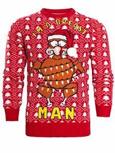 Mens Christmas Jumper Red Turkey Xmas Breast Man Size S M L XL Novelty