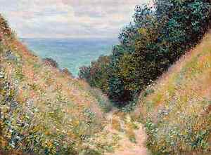 Monet 1882, Road at la Cavee Pourville, Fade Resistant HD Art Print or Canvas