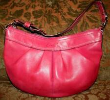 Coach pink burnished pleated  leather hobo bag purse BEAUTY!