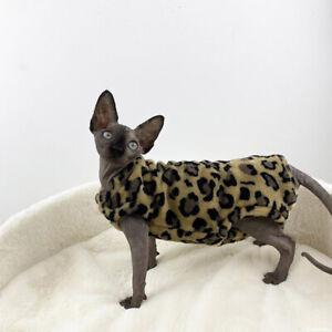 Sphynx cat kitten fleece sweater vest sleeveless brown leopard print 4 leg desig