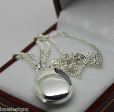 STERLING SILVER 925 OVAL LOCKET PENDANT WITH 2 PHOTO'S & 55CM SILVER CHAIN