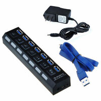 Black USB 3.0 Hub 7 Port On/Off Switches + AC Power Adapter Cable for PC, Laptop