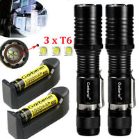 90000Lumens Tactical 3x T6 LED 18650 Flashlight Zoom Aluminum Lamp Light Torch