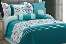 Luxurious 7pcs King Embroided Comforter Set Turquoise BlueLast one