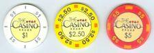 "Aruba Hilton Palm Beach ""The Casino"" three chip set $1, $2.50 and $5"