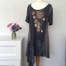 joe browns tunic Top Dress greys short sleeved hanky patchwork size 14 H5