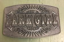 "FARM GIRL SUNUP TO SUNDOWN BELT BUCKLE APPROXIMATELY 4"" X 2 3/8"""