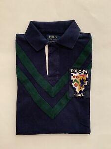 NWT Men's Polo Ralph Lauren Graphic Polo Shirt Cruise Navy Green Small #2425/438