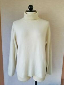 Lord & Taylor Women's 100% 2-ply Cashmere Ivory Turtleneck Sweater Size XL