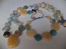 Bohemian AMAZONITE Honey Jade gemstones Macrame Boho NECKLACE, BRACELET Gift SET