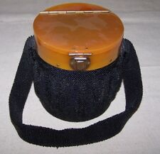 Vintage Black Round Microbead Bakelite Purse with Strap