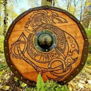 X-MAS GIFT Wood & Metal MEDIEVAL Knight Shield Handcrafted Viking Shield L29