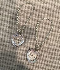 Betsey Johnson Silvertone Mini CZ Pave Skull Embedded Heart Drop Earrings NWOT