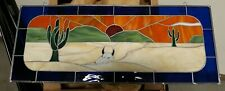 WESTERN DESERT  Stained Glass Window Panel, AS IS 28 X 11