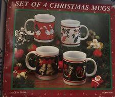 Set 4 Vintage Christmas Mugs Geese Stockings Bells Horns Unused