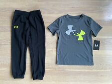 Boys grey under armour tshirt and joggers set size 5 nwt