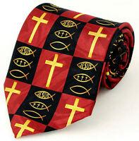 NEW Half Crosses Half Fish Symbols with Jesus Religious Novelty Necktie #1555