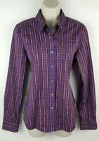 Steven Alan Womens Long Sleeve Button Front Plaid Shirt Sz Large 100% Cotton EUC