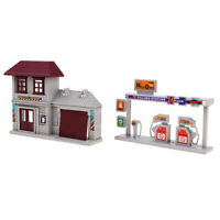 1:87 Model Train Layout HO Scale Gas Station Micro Landscape Ornament Decor