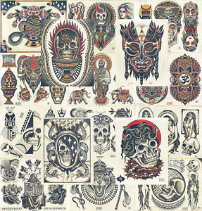 16 Sheets Traditional, Vintage Style American Old School Tattoo Flash Collection