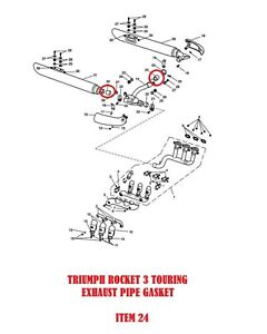 TRIUMPH ROCKET 3 TOURING EXHAUST PIPE JOINT GASKET