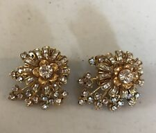 Miriam Haskell Clip clip-on earrings Faux Gold Diamonds leaves floral rhinestone