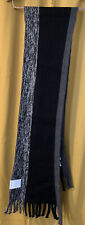 Calvin Klein Black Colorblock Raschel Muffler Scarf Fringed New With Tags! 6 Ft