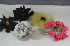 flowers millinery trim hat clothes lot black pink blue cloth chiffon antique
