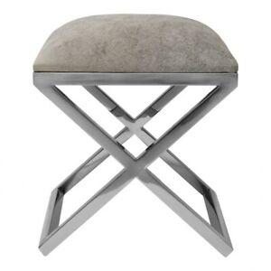 """15.75"""" W Stephen Stool Modern Stainless Steel Frame Soft Leather Contemporary"""