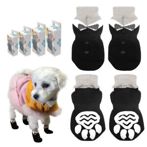 4pcs/lot Dog Socks No-slip Pet Paws Cover Shoes for Dogs Knitted Warm Dog Boots