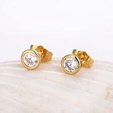 Women's Earrings Mini Fashion Ear Stud 18K Yellow Gold Filled 6mm Unique Jewelry