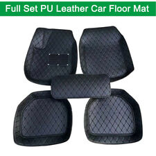 Full Black Pu Leather All Weather Carpet Vehicle Floor Mats 4PCS Front + Rear