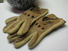 Vtg ARIS Driving Gloves Chic Pearl Snaps Tan Cream Novakid Womens Small