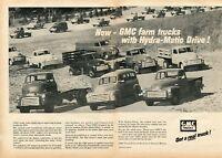 1953 2 Page Print Ad of General Motors GM GMC Full Line of Farm Pickup Trucks