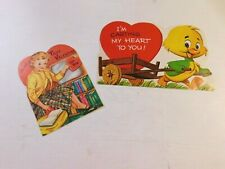 Vintage Valentines Lot 31 - Lot of 2 used cards 1962 Duck and teacher