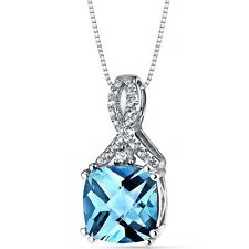 14k White Gold Swiss Blue Topaz Pendant Cushion Checkerboard Cut 3.50 Carats