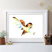 ORIGINAL WATERCOLOUR OWL PRINT SIGNED BY ARTIST ,WATERCOLOR ,BANKSY POP ART