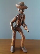Vintage Hand Carved Wood Cowboy Gunfighter Figure J.D. Signed Folk Art 7""