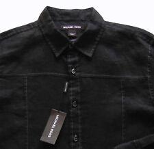 Men's MICHAEL KORS Black Linen Shirt M Medium NWT NEW Convertible Sleeves $125+