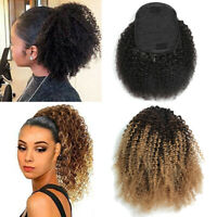 Mongolian 100% Kinky Curly Clip on Drawstring Ponytails Bun 4B Afro Hair Peices